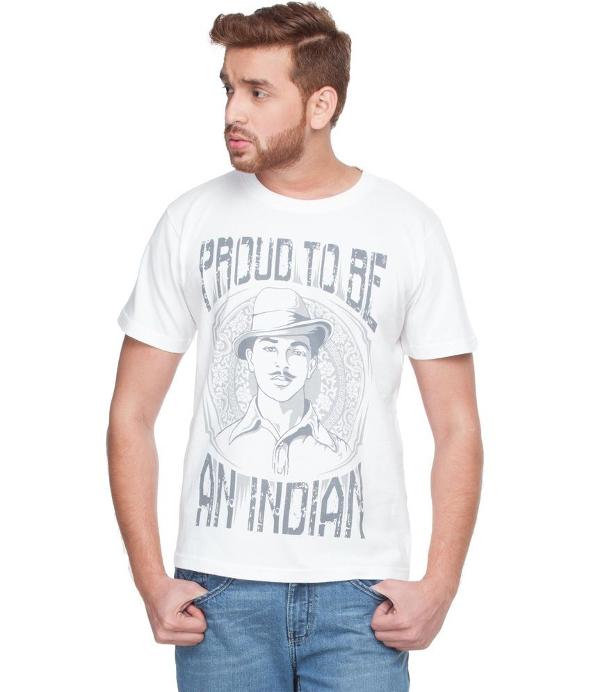 Zovi Proud To Be Indian White Graphic T-shirt