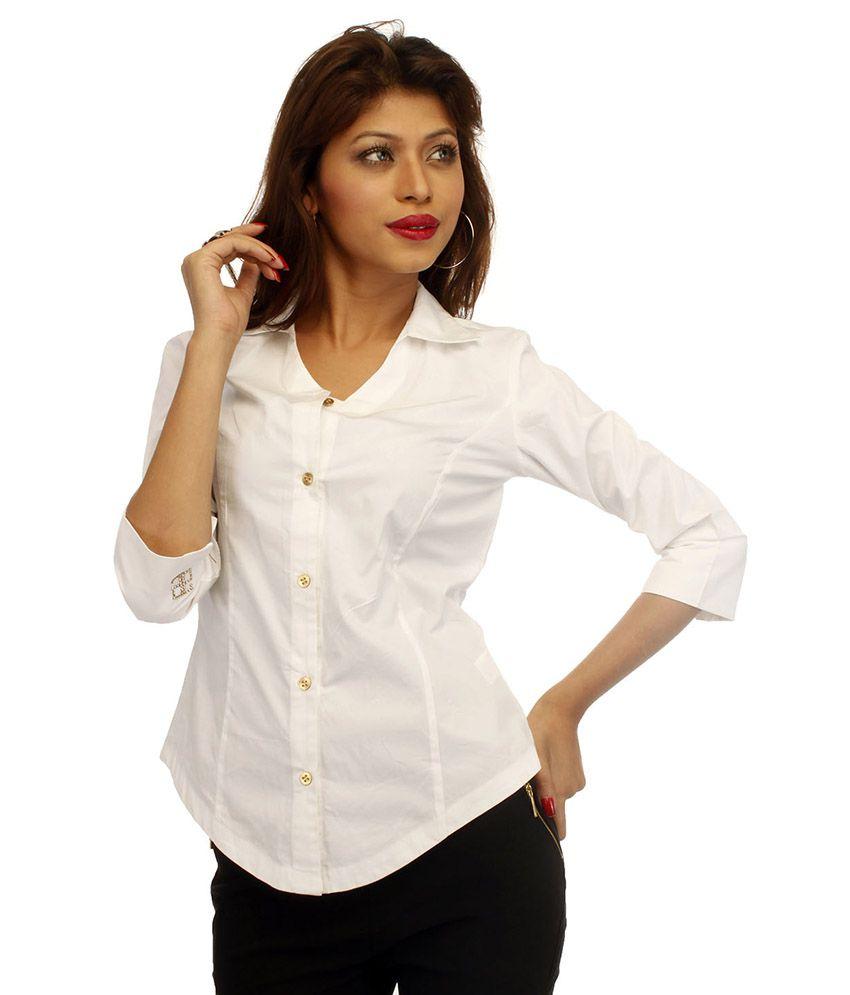 Adam N Eve White Cotton Shirts