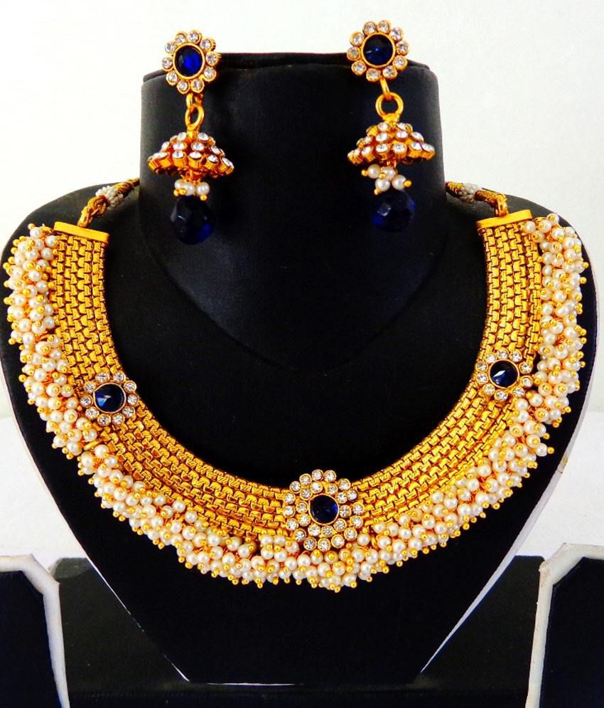 South Indian Style One Gram Gold Pearl Necklace Jhumka Earring Set ...
