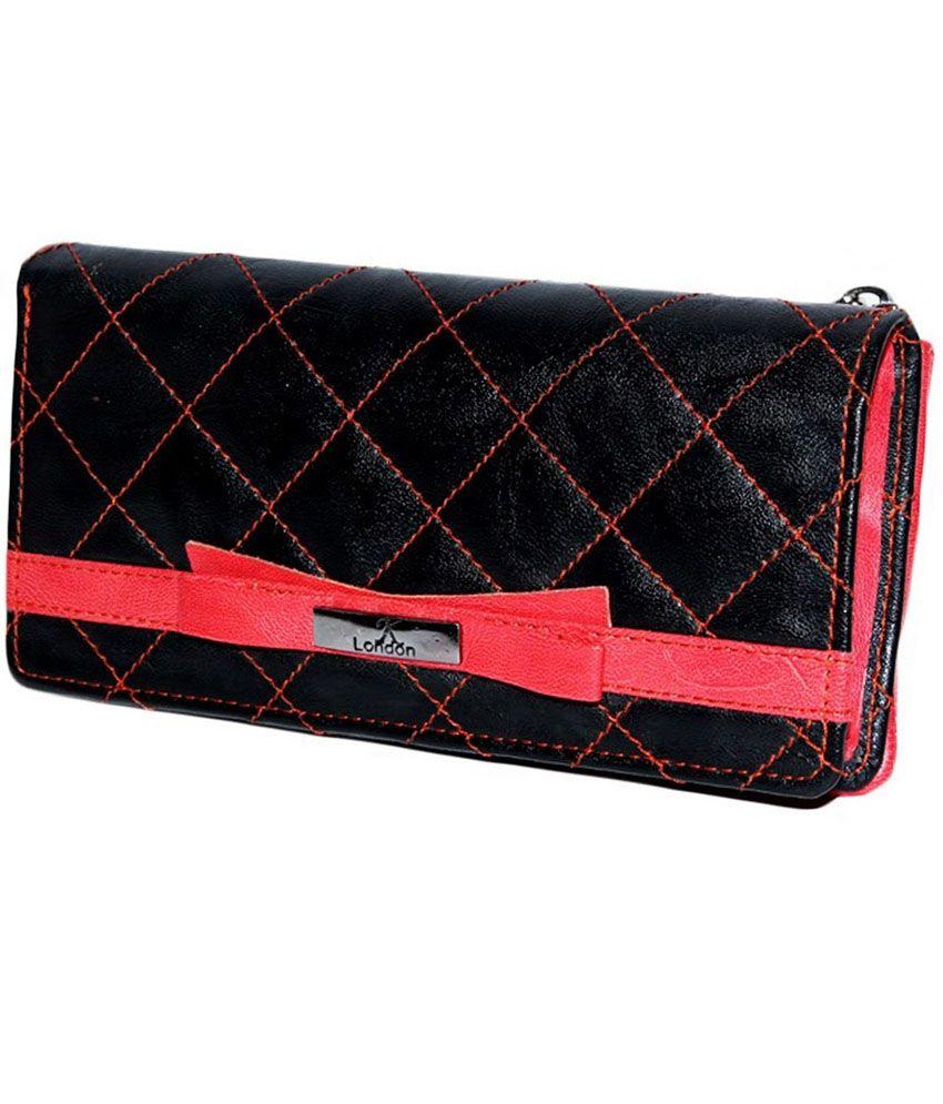 K London Non Leather Red & Black Women Regular Wallet