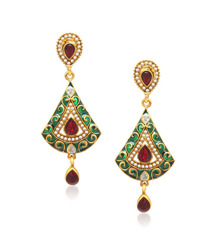 Vk Jewels Green And Red Elegent Drop Earring Set
