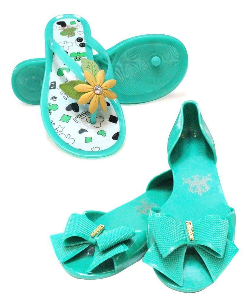 Combo Of Turquoise Green Peep Toe Sandals Plus Silicon Flower Flip Flops