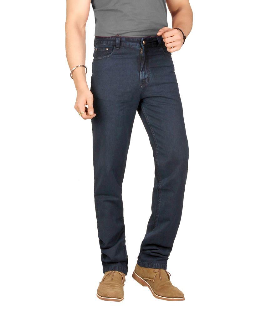 Warewell Blue Regular Fit High Rise Denim Jean For Men