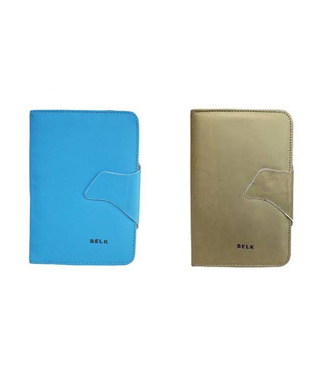 Tup Belk combo Flip Cover For Micromax Funbook P255 - Golden Lightblue