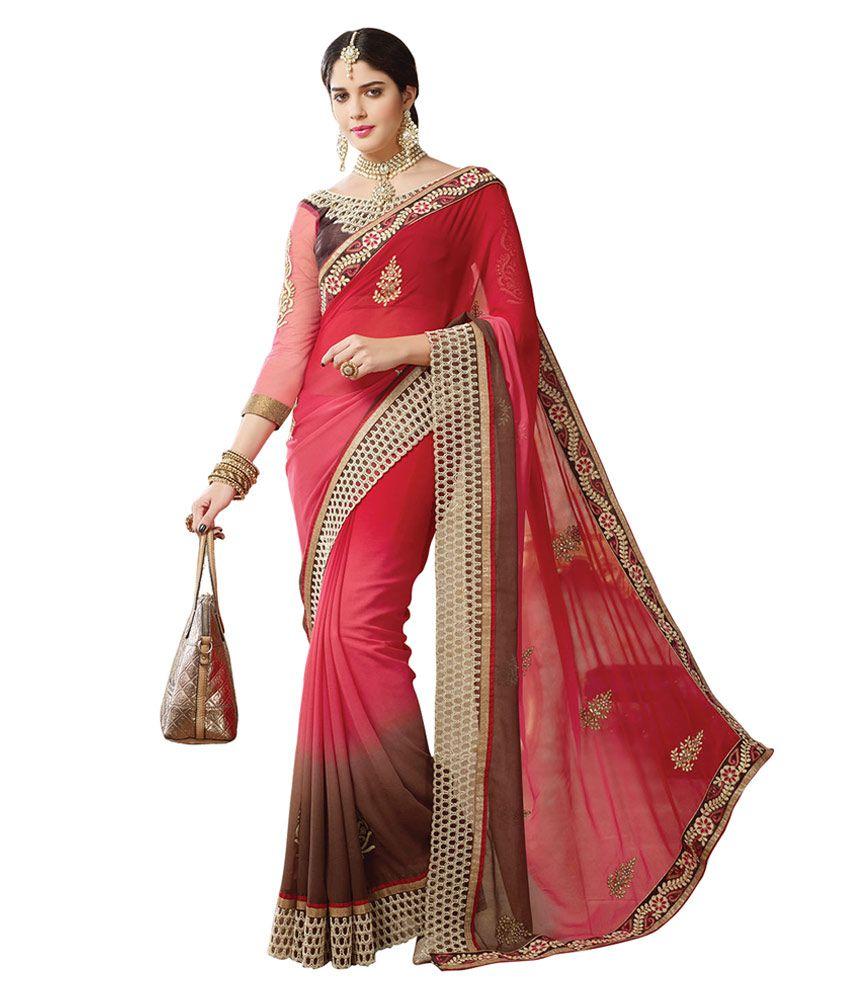 V-style4u Red & Brown Designer Saree