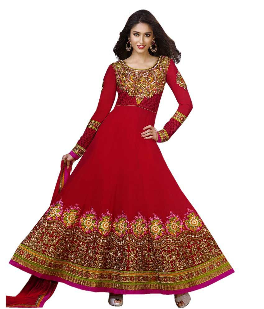 Vidya Fashions Red Faux Georgette Semi Stitched Suit Embroidered Anarkali Semi Stitched Suit