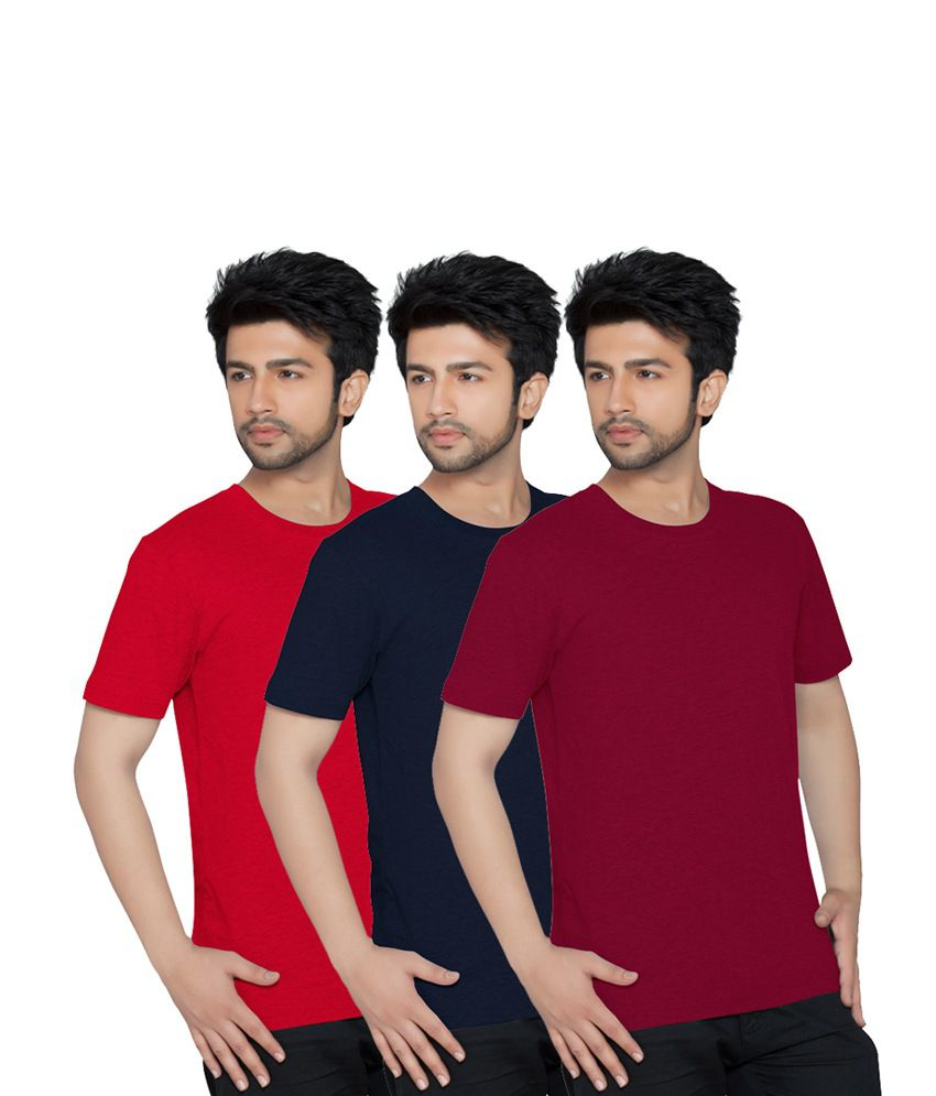 Texfit Men's Red, Navy And Maroon Round Neck - Pack Of 3