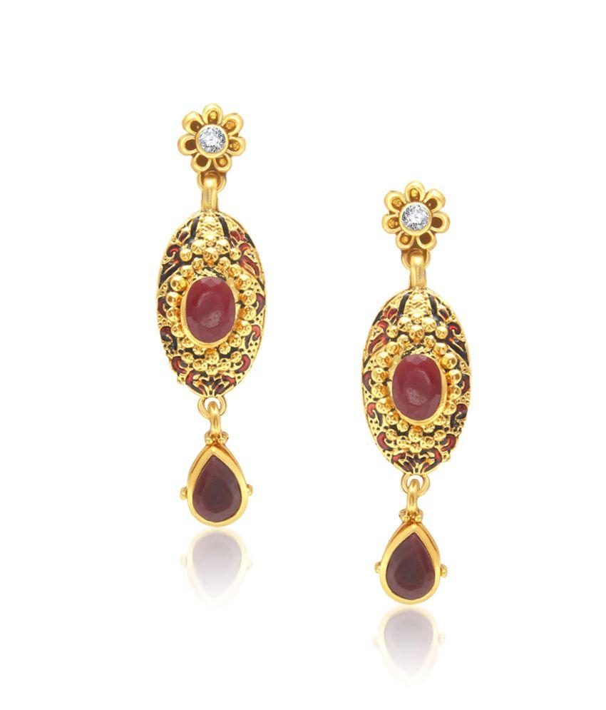 Vk Jewels Amazing Red Drop Earring Set.