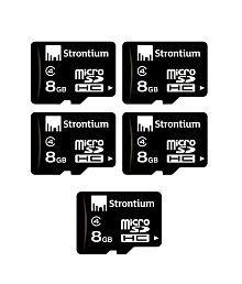 Strontium Pack Of 5 - Strontium 8 Gb Micro Sdhc Memory Card Class 4