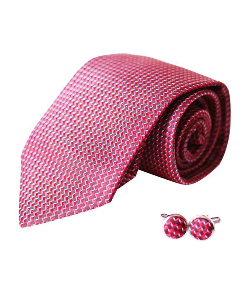 Radcliff Red Beautiful Checks Designer Tie With Matching Cufflinks
