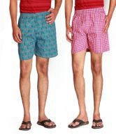Goodkarma Pink Polyester Checks Short - Combo Of 2