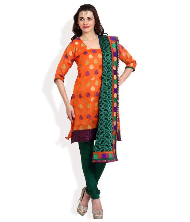 Aaboli Orange Crepe Jacquard Unstitched Dress Material