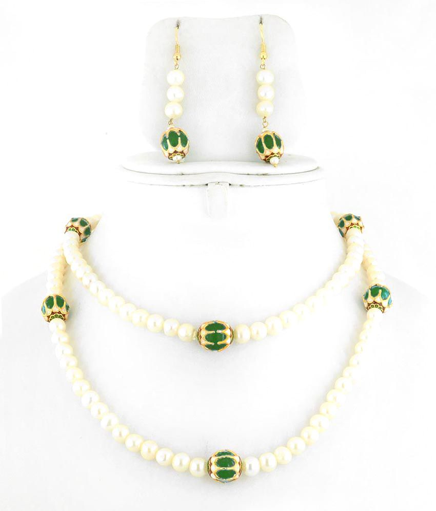 Barishh Cultured White Pearl With Green Bead Gemstone Designer Necklace