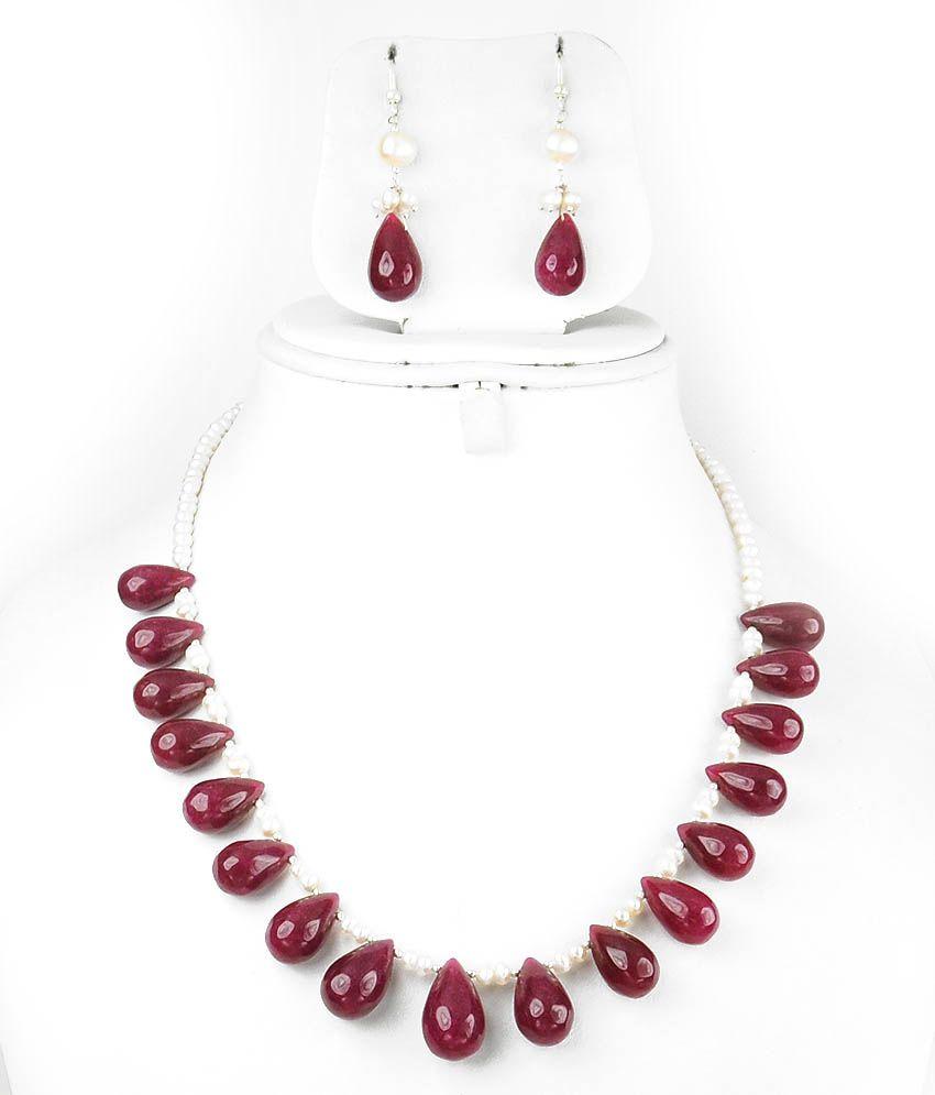 Single Line Beads: Barishh Gems Cultured Pearl Drop Shape Ruby Bead Single