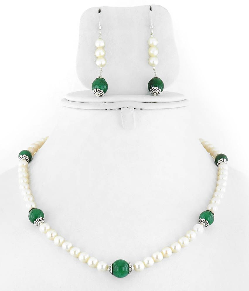 Barishh Pearl Emerald Bead Single Line Necklace With Silver Lock