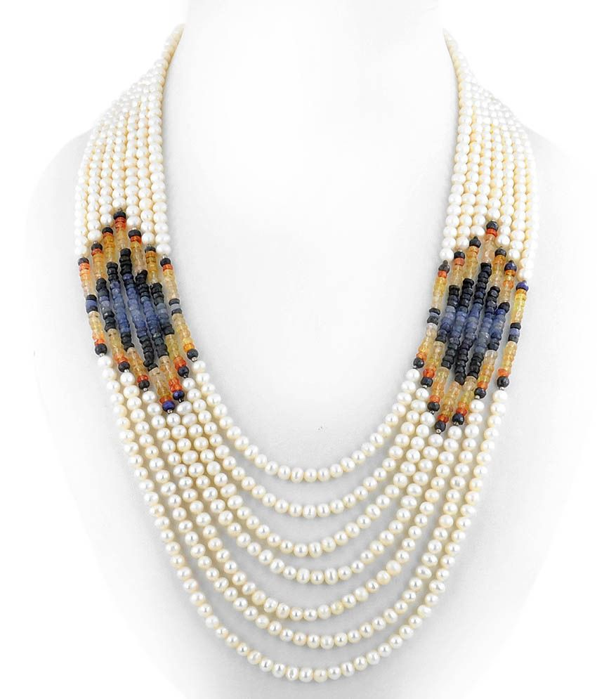 Barishh Seven Line Cultured Pearl Color Gemstone Bead Necklace