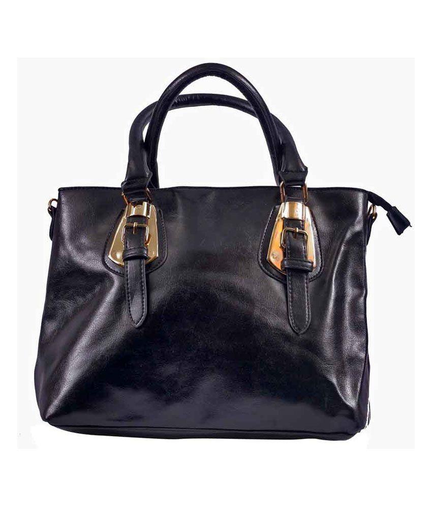 Klh Black P.u. Zip Shoulder Bag