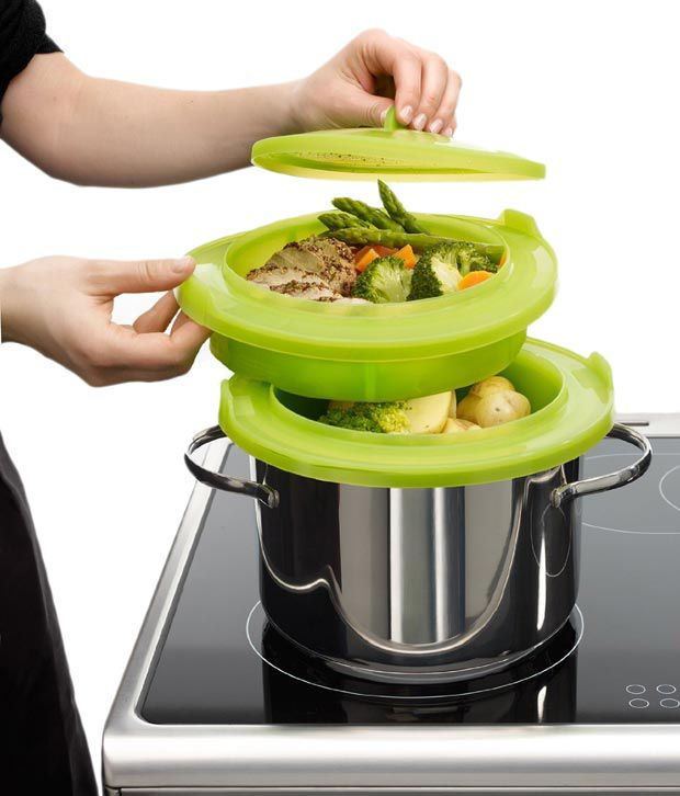 Lekue Layered Silicone Steamer, Green - Large