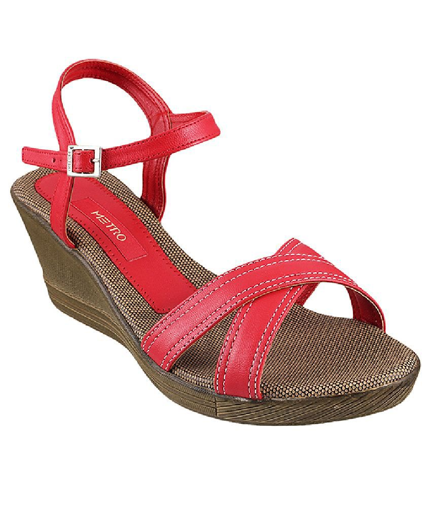 Metro Red Wedges Sandals