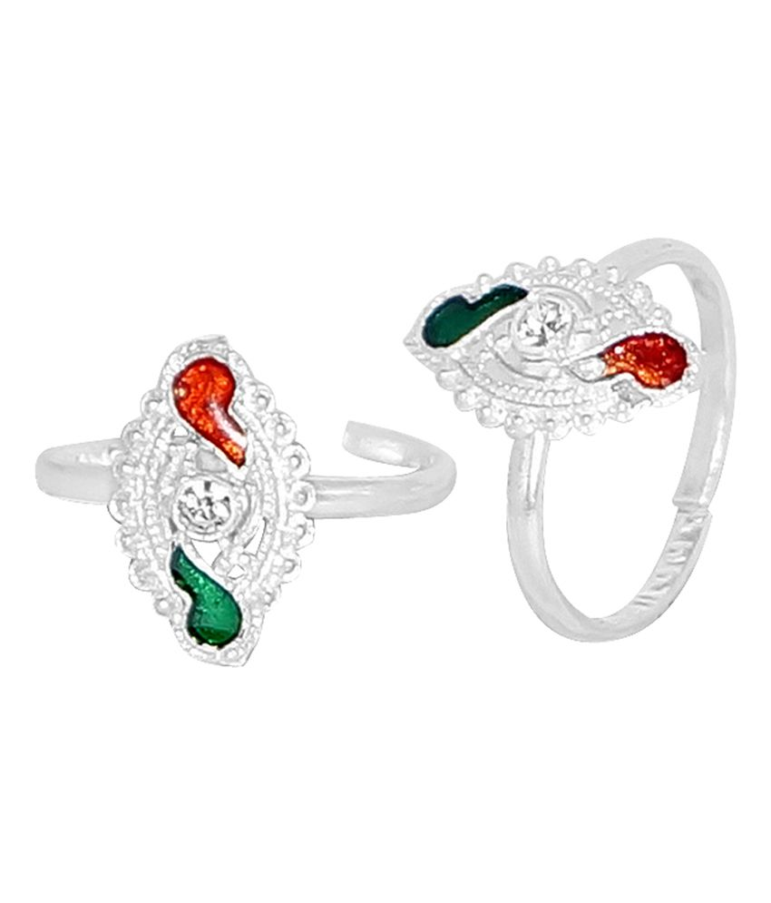 R S Jewels Silver Plated Multi Enamel Cz Latest Style Toe Ring
