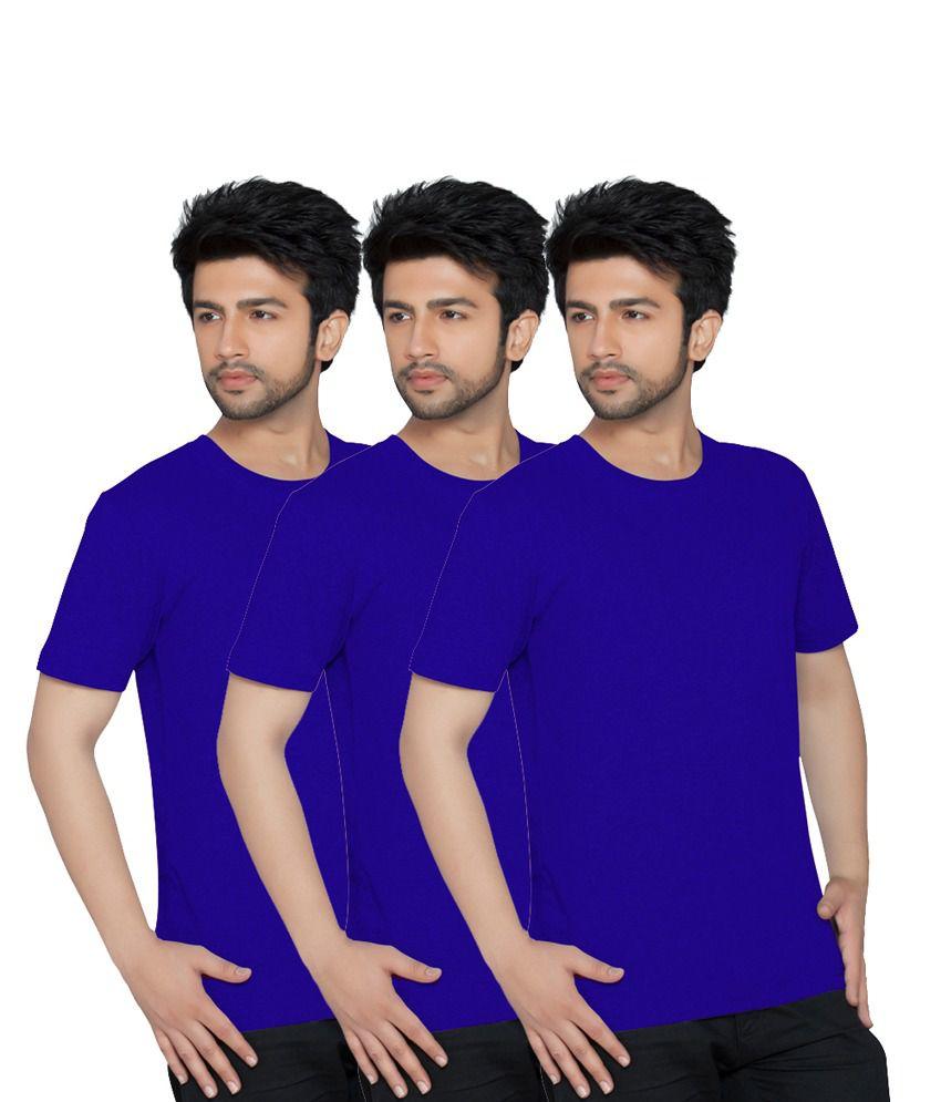 Texfit Blue Cotton Round Neck Half Sleeves Basicst-shirt