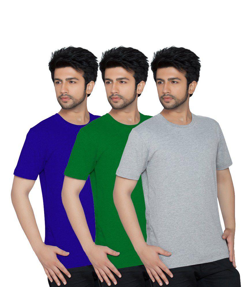 Texfit Multi Color Cotton Round Neck Half Sleeves Basicst-shirt