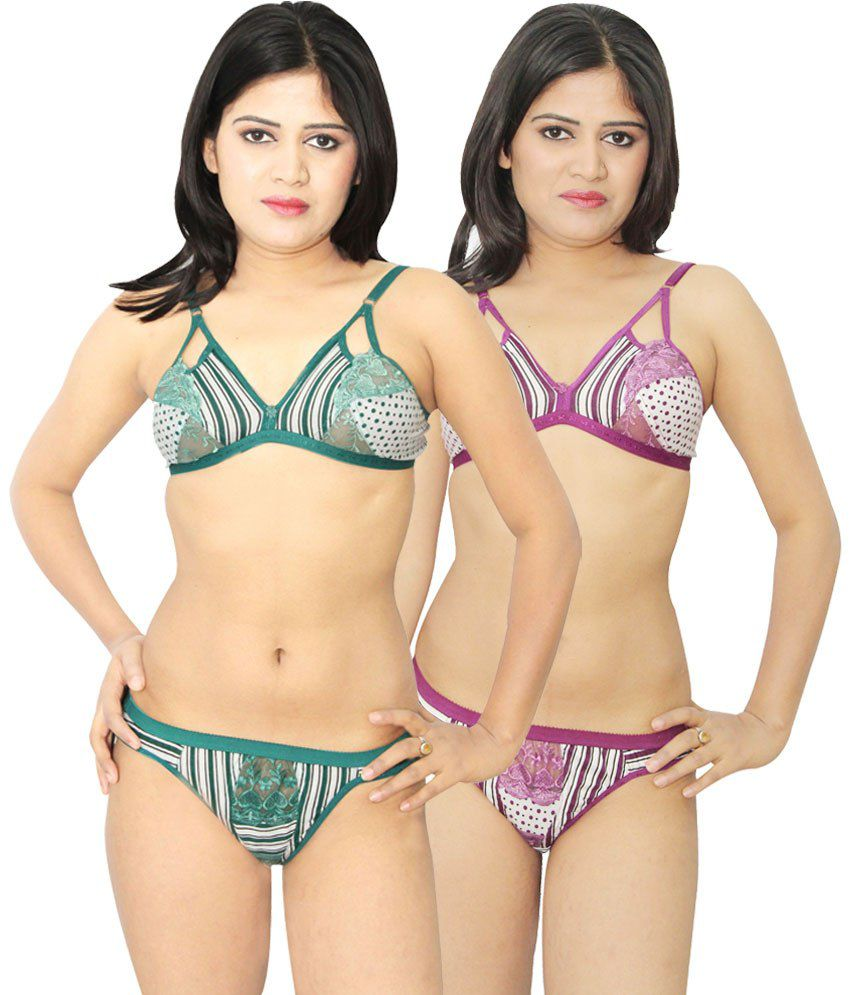 a631ab4661e51 Buy Nutex Sangini Multi Color Bra  Sets Pack of 2 Online at Best Prices in  India