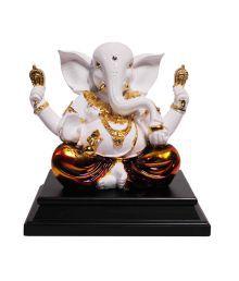 Saanvi Enterprises White And Gold Polystone Ganesha Statue
