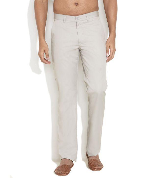 John Miller Light Grey Flat-Front Hangout Trousers