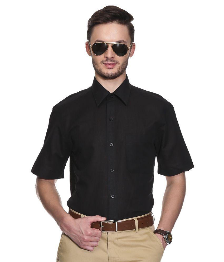 John Players Black Formals Linen Shirt