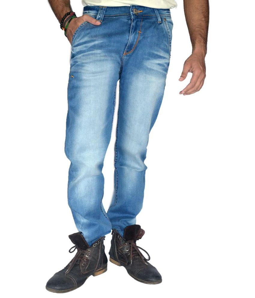 Londonhouze Light Washed Blue Straight Fit Jeans