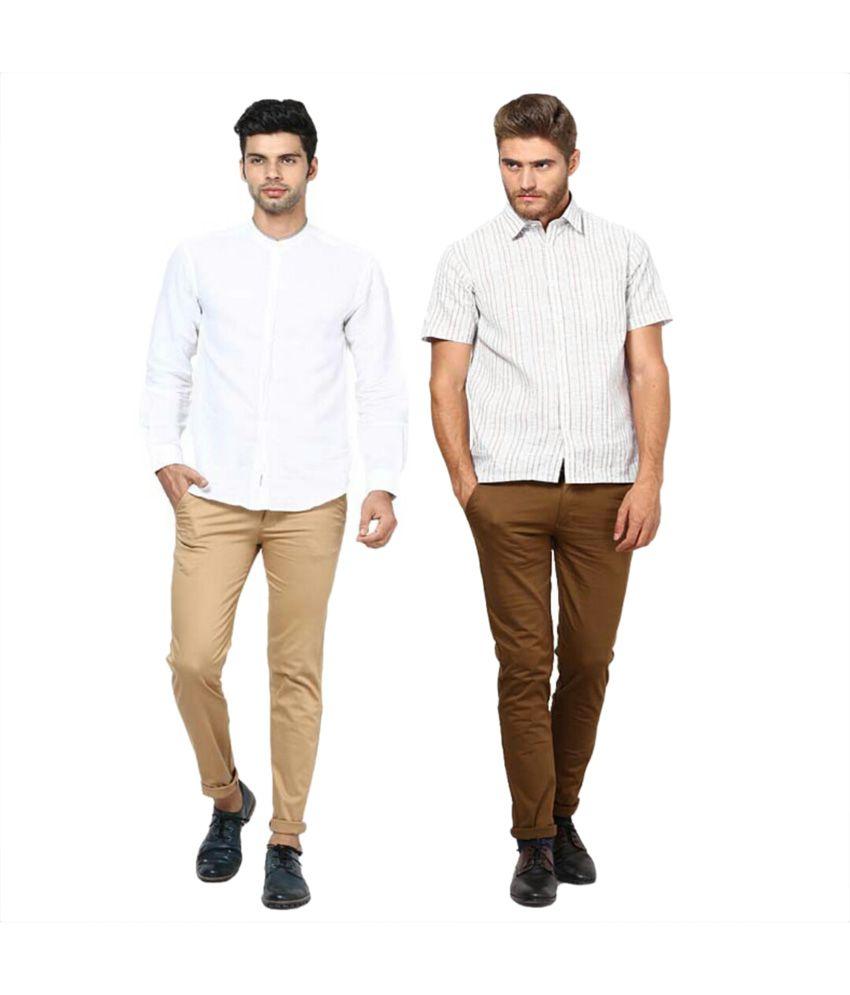 Inspire Clothing Inspiration Pack Of 2 Slim Casual Chinos (Khaki & D.Khaki)