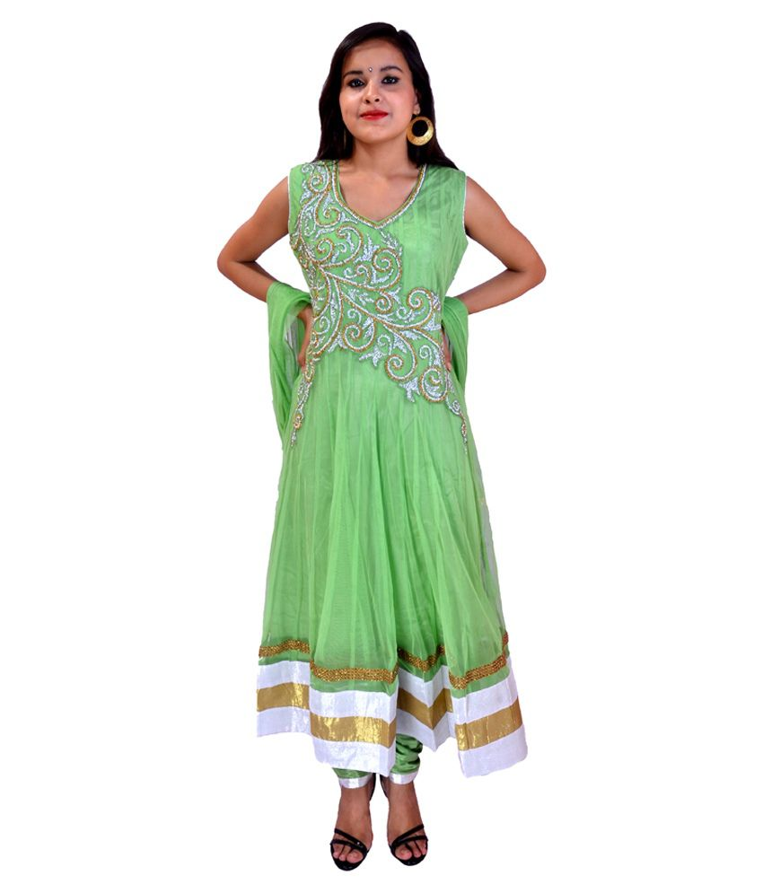 Krazzy Collection Pista Stone Work Anarkali Suit With Full Sleeves