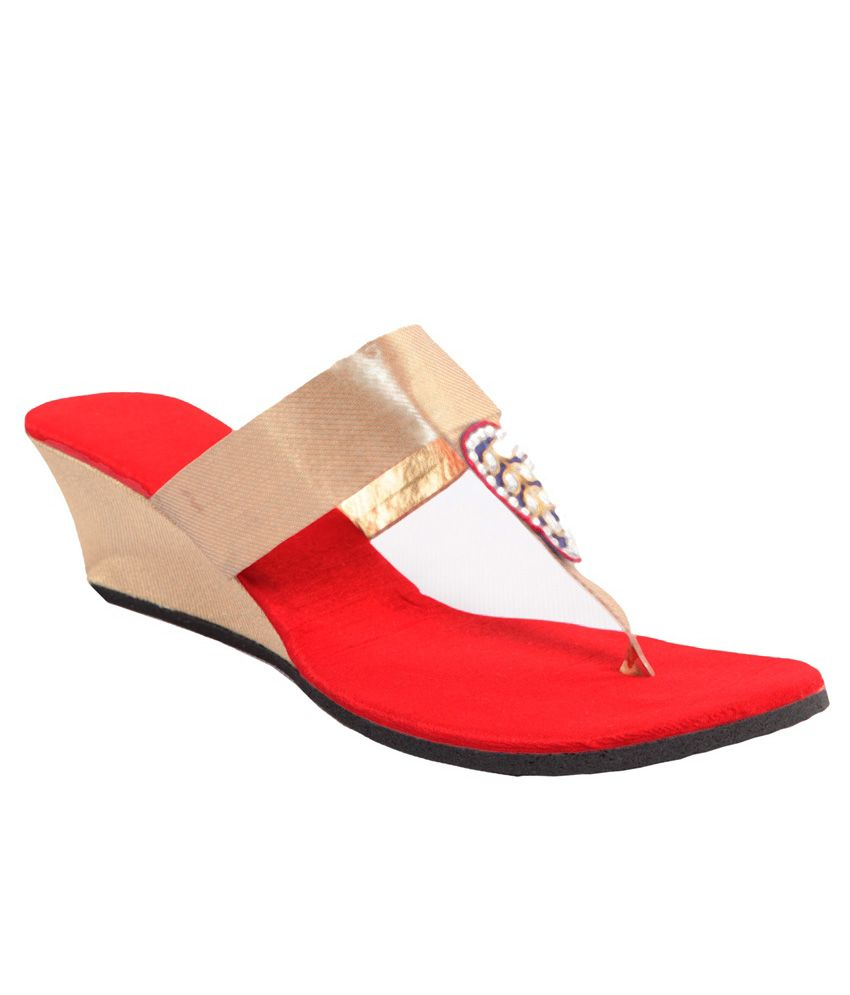 Maalpani Gorgeous Golden & Red Party Wedges
