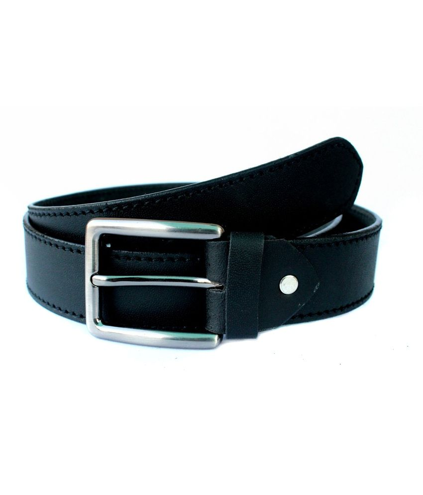 Tops Black Side Stitched Leather Belt for Men
