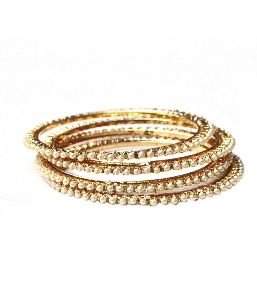 Kraft Jewellery Style Diva Gold Artificial Stone Bangles