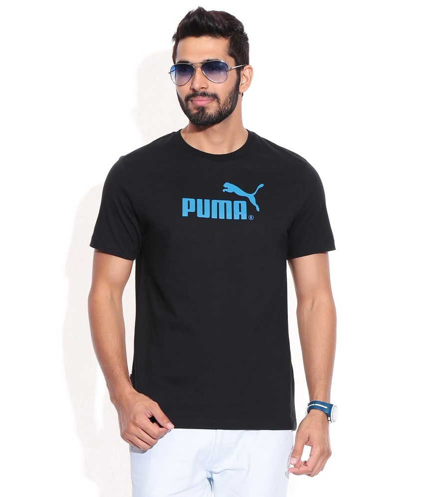 PUMA BLACK-METHYL BLUE LARGE NO.1 LOGO TEE