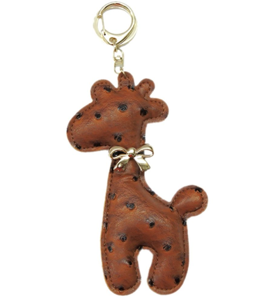 Young & Forever Cute Giraffe Handmade Leather Bag Charm Key Ring & Keychain Brown