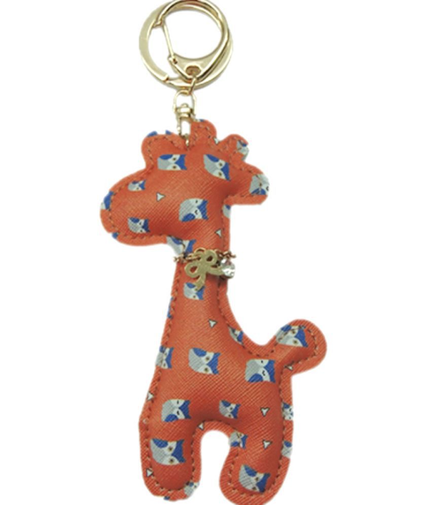 Young & Forever Cute Giraffe Handmade Leather Bag Charm Key Ring & Keychain Orange Owl Print