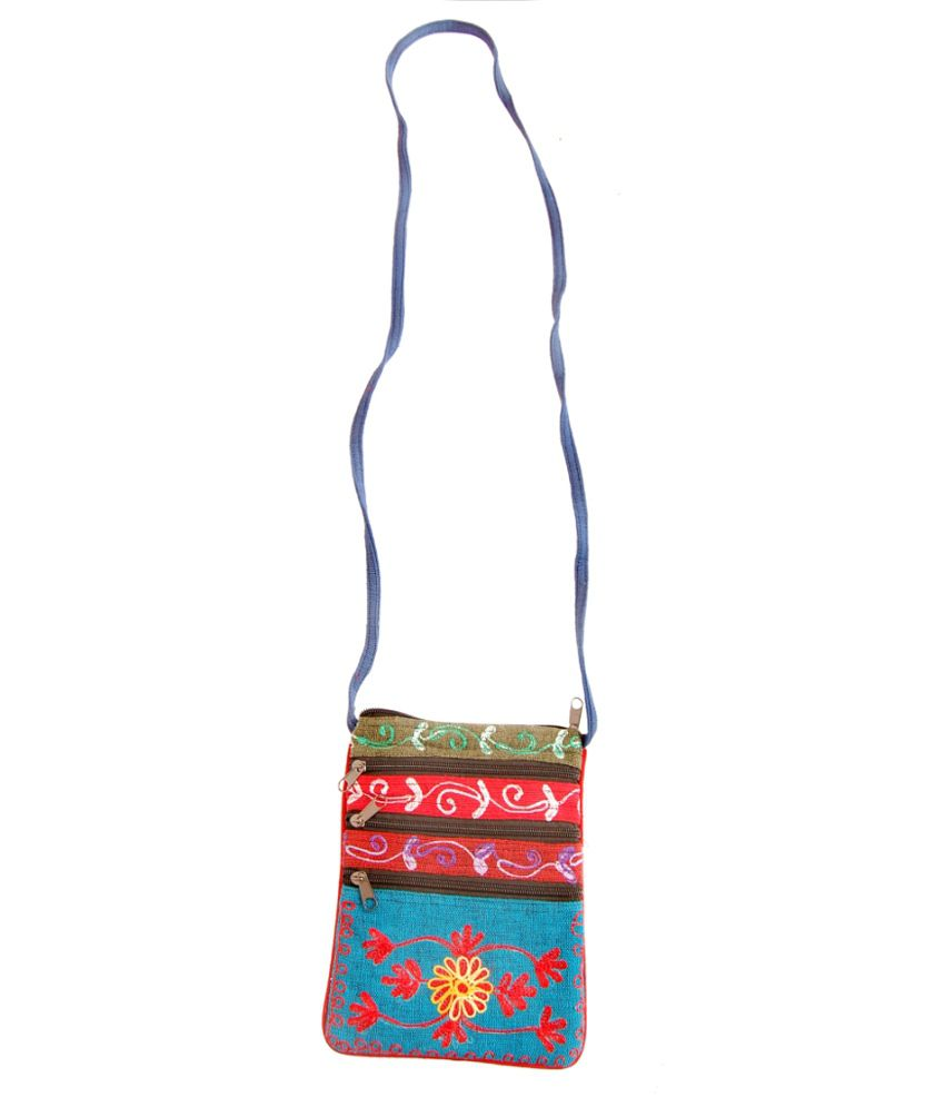 3 Coins Plus Multicolor Hand Embroidered Utility Bag