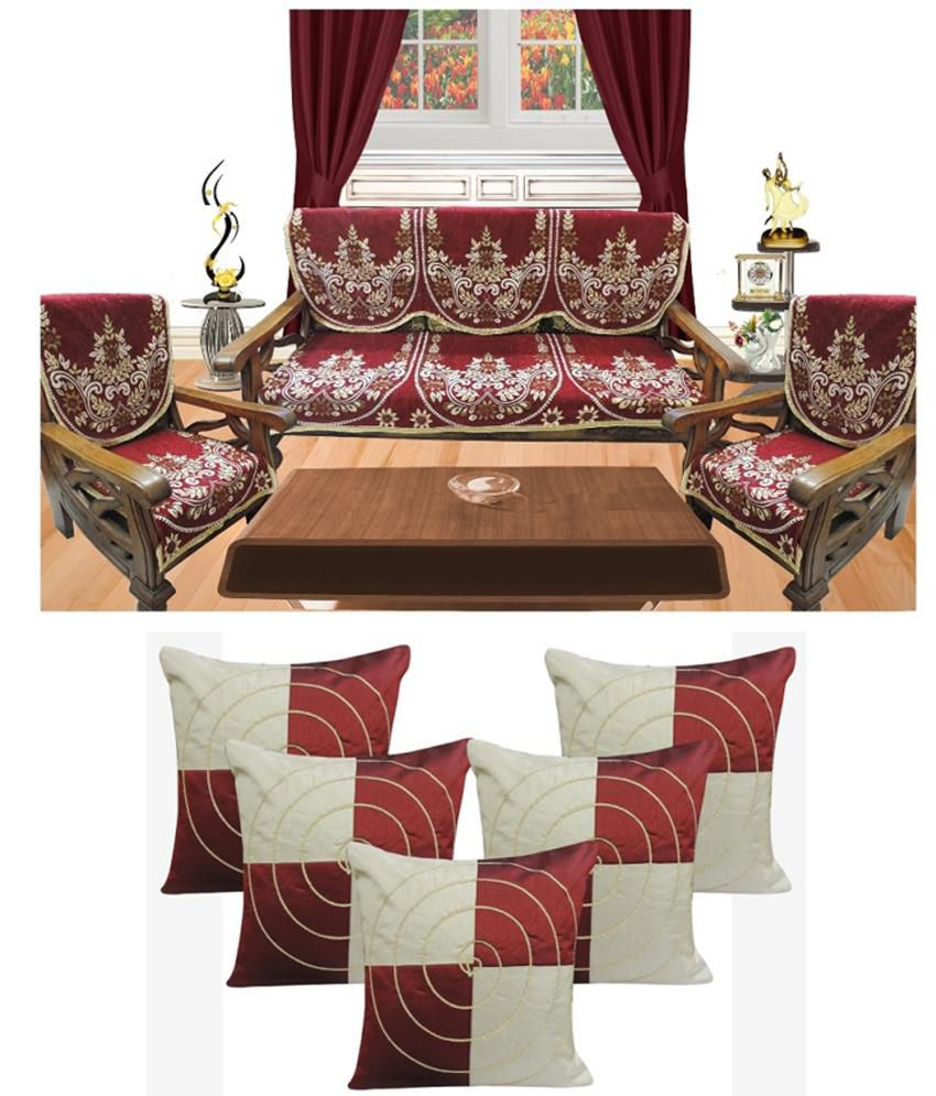 Decor Bazaar Red Poly Cotton Sofa Cover With Set Of