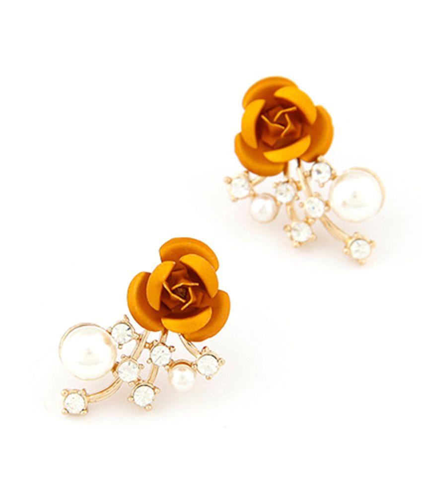 Jeweltouch Rose Flower Design Alloy Stud Earrings