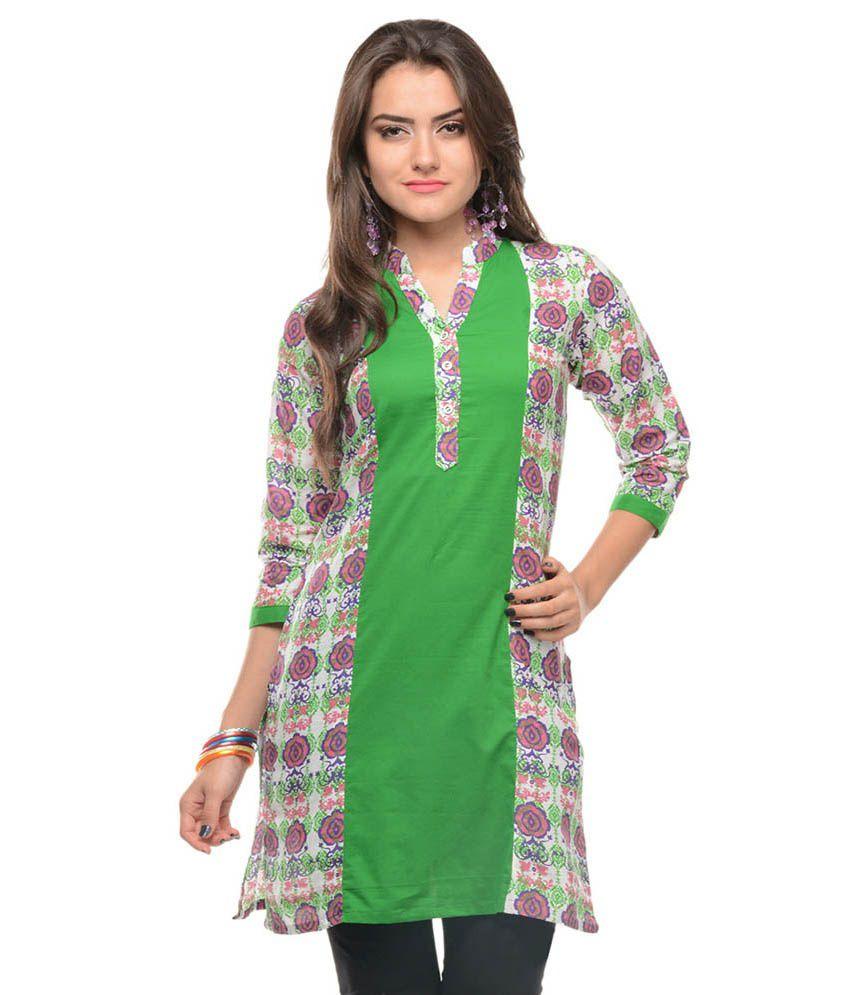 Sritika Green Printed Cotton 3/4th Sleeves Medium Kurti