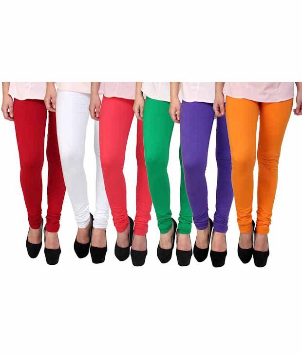 Anekaant Pack Of 6 Multi Color Cotton Lycra Women's Leggings