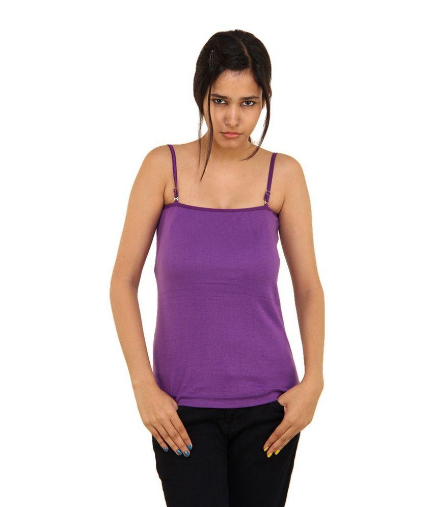 Boosah Purple Cotton Camisoles Monochrome Spaghetti