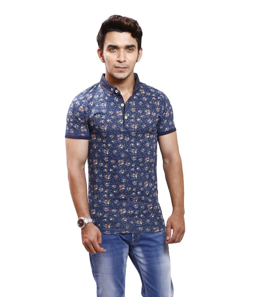 Pp Jeans Blue Half Cotton Collar T-shirt - Buy Pp Jeans Blue Half Cotton Collar T-shirt Online ...