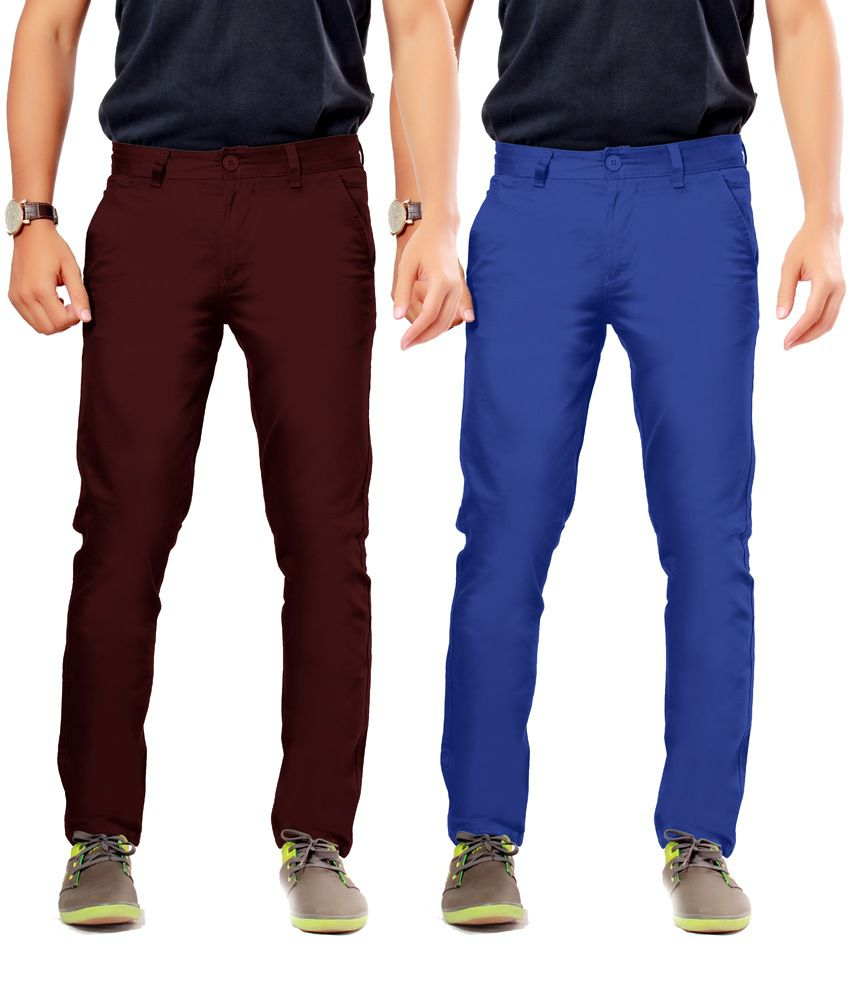 Uber Urban Maroon Cotton Slim Casuals Chinos - Pack Of 2