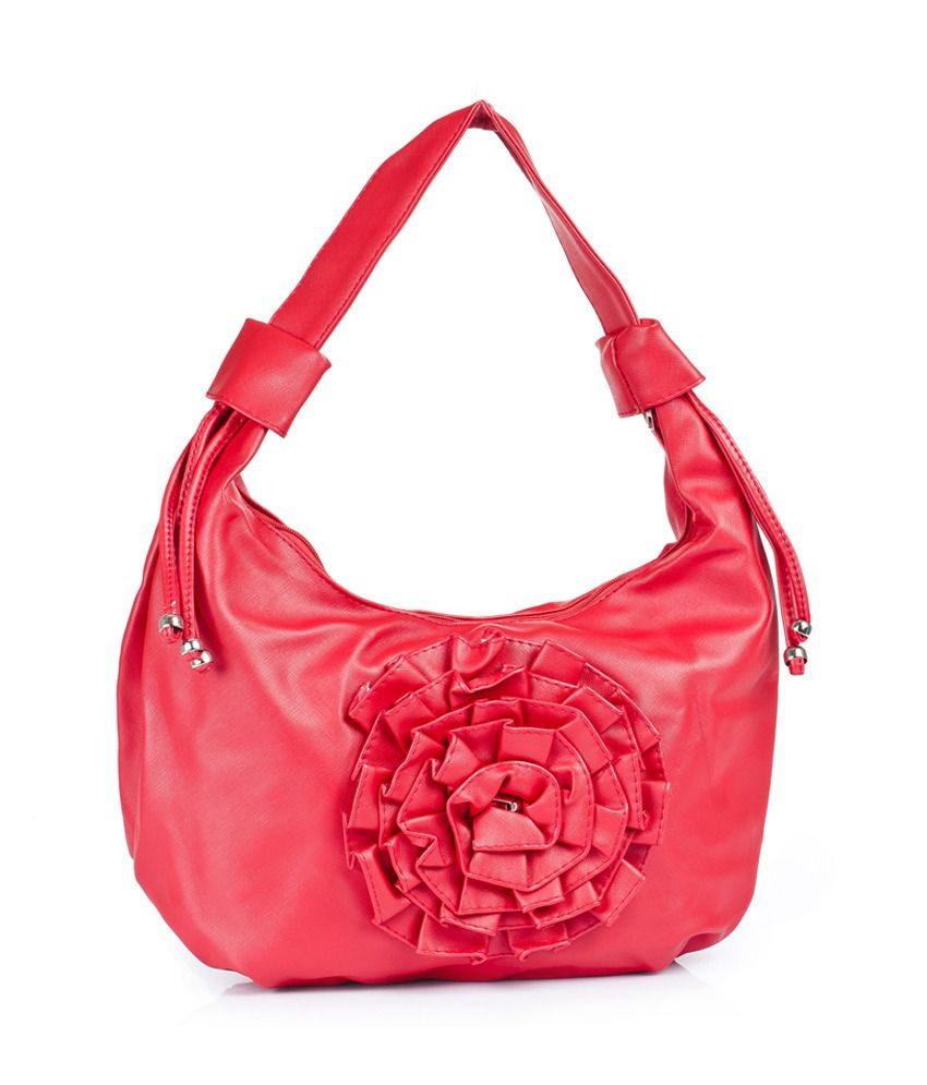 1 Bolzo Si-centerbigfrillflwr-cherry Red Shoulder Bags