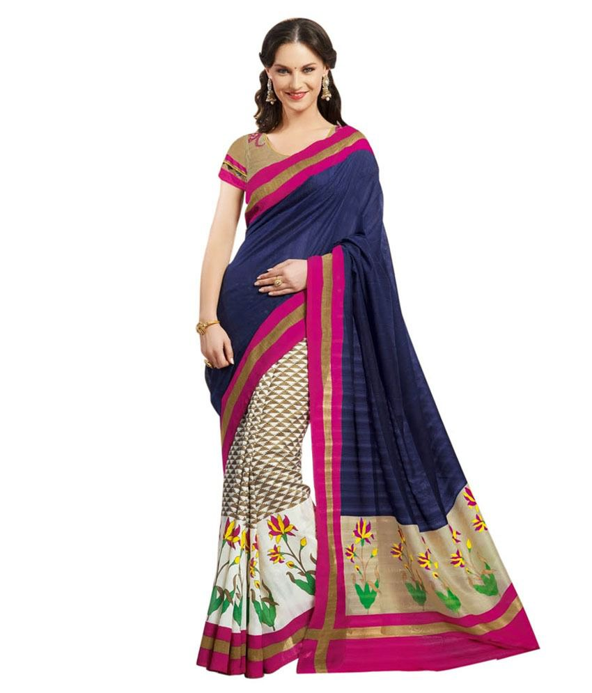 Aadya Blue Bhagalpuri Silk Saree Buy Aadya Blue