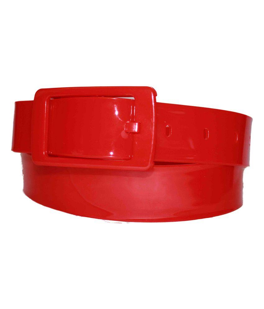 Authority Red Plastic Neon Belt For Men
